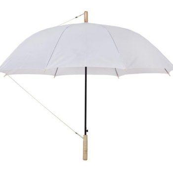 הדפסה על מטריה לבנה עם ידית עץ
