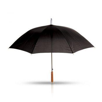 מטריה שחורה עם ידיתי אחיזה מעץ